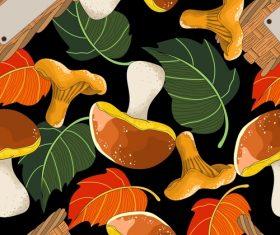 Mushroom with autumn leaves pattern seamless vectors 03