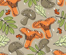 Mushroom with autumn leaves pattern seamless vectors 04