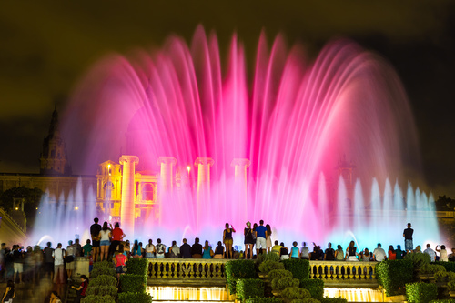 Night light colorful fountain Stock Photo 02