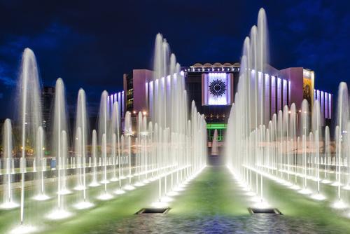 Night light colorful fountain Stock Photo 06