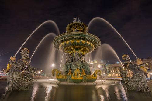 Night light colorful fountain Stock Photo 09
