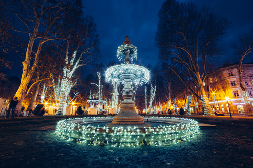 Night light colorful fountain Stock Photo 12