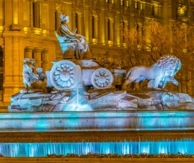 Night light colorful fountain Stock Photo 13