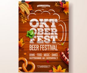 Oktoberfest flyer with poster template vector 01
