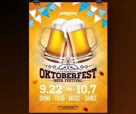 Oktoberfest flyer with poster template vector 02