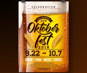 Oktoberfest flyer with poster template vector 03