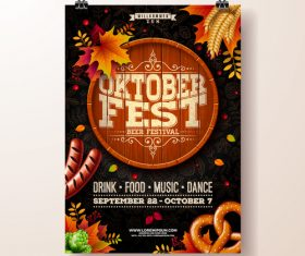 Oktoberfest flyer with poster template vector 04