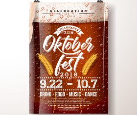 Oktoberfest flyer with poster template vector 07