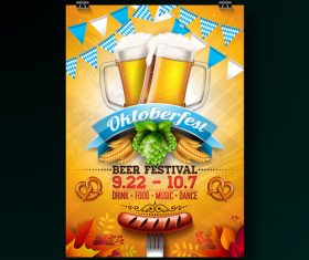 Oktoberfest flyer with poster template vector 08