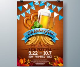 Oktoberfest flyer with poster template vector 09
