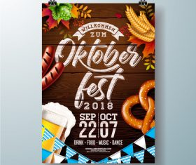 Oktoberfest flyer with poster template vectors 01