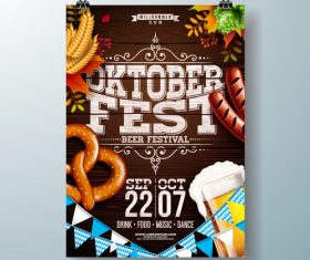 Oktoberfest flyer with poster template vectors 02