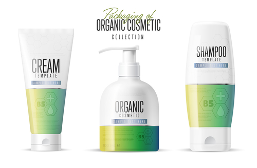 Organic cosmetics packaging design vector 01