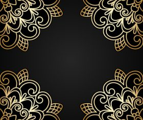 Ornament round golden vector material