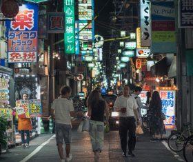 Osaka street night view Stock Photo