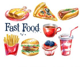 Painted fast food vector