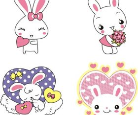 Pink cartoon cute animal bunny vector material
