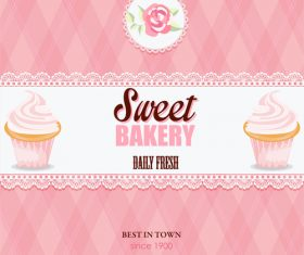 Pink sweet bakery card vector