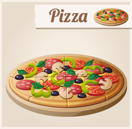Pizza background design elements vector