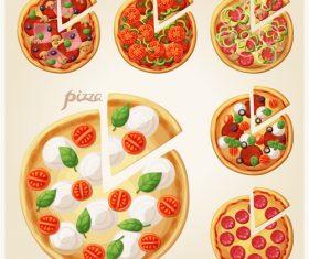 Pizza elements design vector 01
