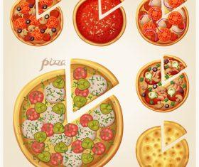 Pizza elements design vector 02