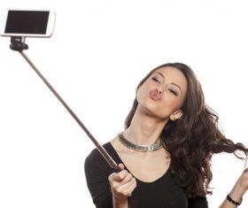Pretty brunette woman selfie Stock Photo 02