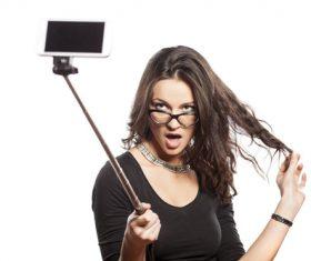 Pretty brunette woman selfie Stock Photo 03
