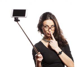 Pretty brunette woman selfie Stock Photo 04