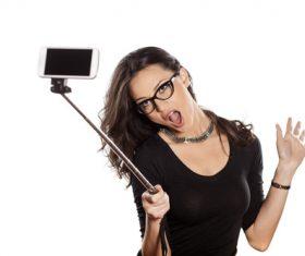 Pretty brunette woman selfie Stock Photo 05