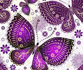 Purple butterfies seamless pattern vector