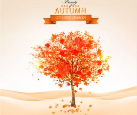 Red tree with abstract autumn background vector 01