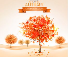 Red tree with abstract autumn background vector 02