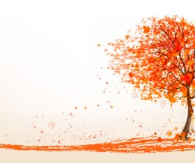 Red tree with abstract autumn background vector 03