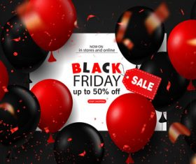 Red with black balloon and Black Friday sale background vector 01