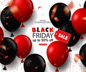 Red with black balloon and Black Friday sale background vector 02