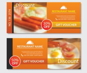 Restaurant gift voucher templae vector 02