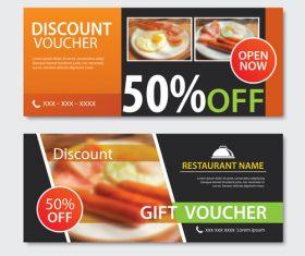 Restaurant gift voucher templae vector 04