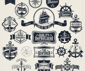 Retro badge with labels design vectors set 01