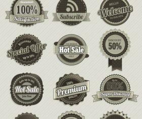 Retro badge with labels design vectors set 03