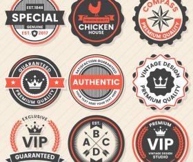 Retro badge with labels design vectors set 05