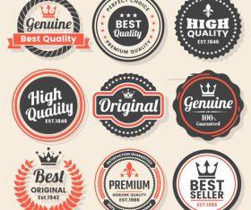 Retro badge with labels design vectors set 06