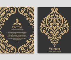 Retro luxury decor cover template vector 06