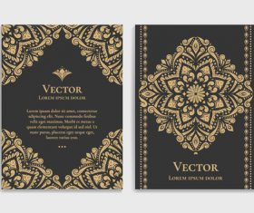 Retro luxury decor cover template vector 07