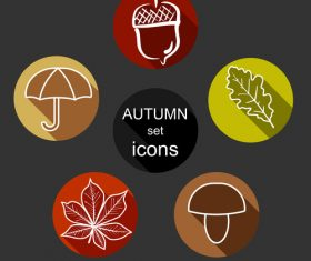 Round autumn icon vector
