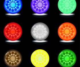 Round glowing button vector