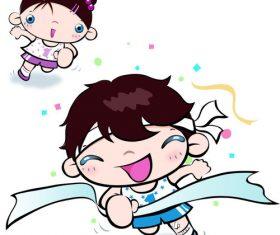 Schoolboy sports meet cartoon character vector