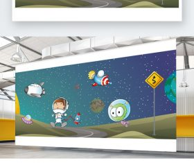 Science cartoon space exhibition board background wall vector material