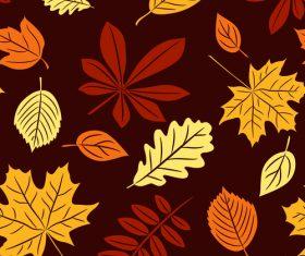 Seamless autumn leaves pattern vectors 03