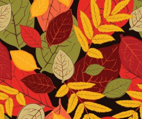 Seamless autumn leaves pattern vectors 05