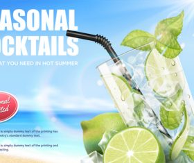 Seasonal cocktails poster design vector 01